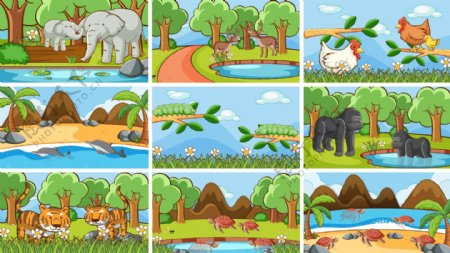 卡通自然风景图片