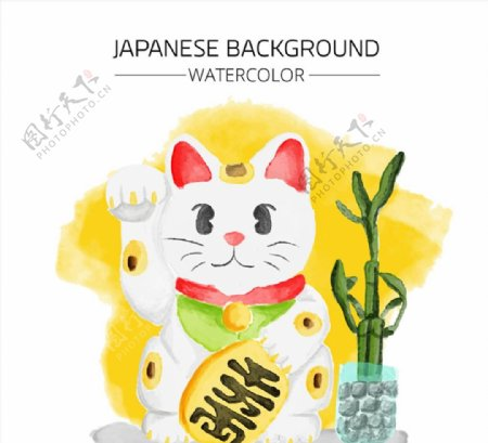 日本招财猫矢量图片