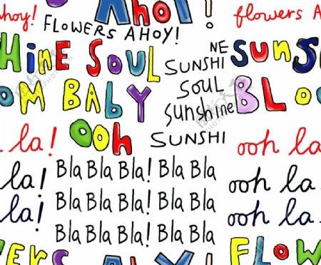 英文字母印花图片