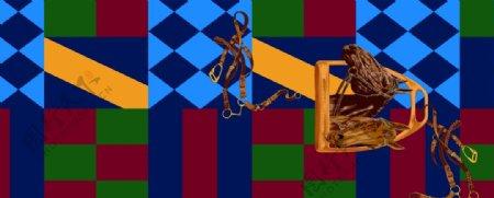 条纹格子方巾图片