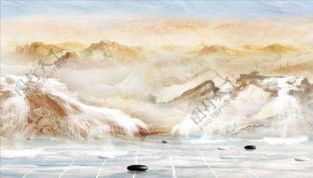 山水画瀑布鹅卵石背景墙图片