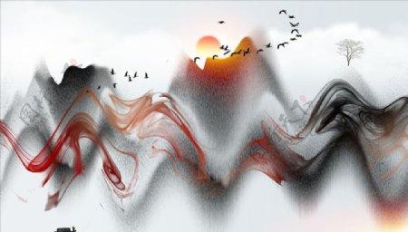 水墨画小船飘带大雁树图片