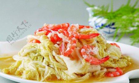 鲁菜山东菜大虾烧白菜图片