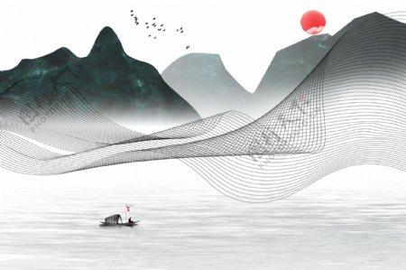 新中式水墨山水图片