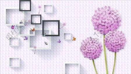 蒲公英蝴蝶框框背景墙图片