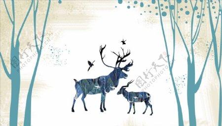 水墨画鹿飞鸟背景墙图片