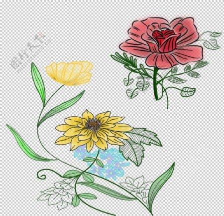 手绘花草线描素材图片