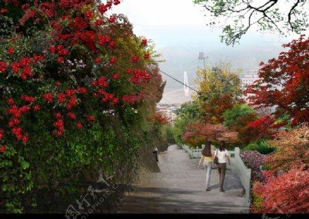 步道挡墙观江绿化psd分层图片