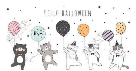 猫咪气球卡通图片