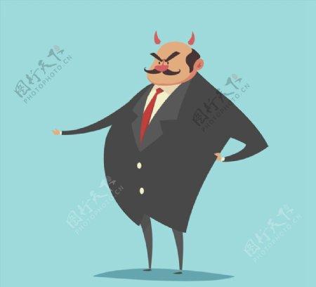 卡通生气的老板图片