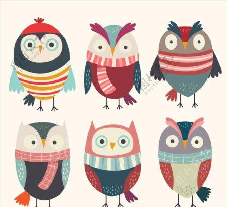 冬季猫头鹰矢量图片