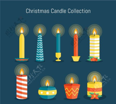 彩色圣诞蜡烛图片