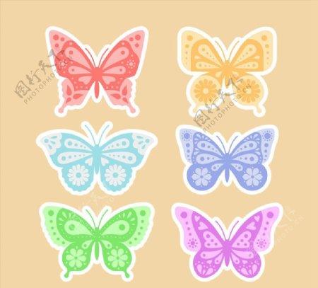 蝴蝶贴纸矢量图片