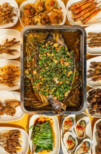 烤鱼聚餐图片