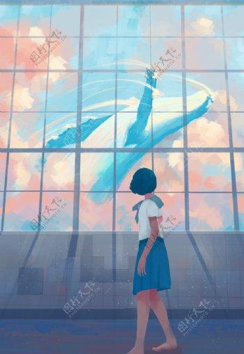 蓝色梦幻鲸鱼治愈插画图片