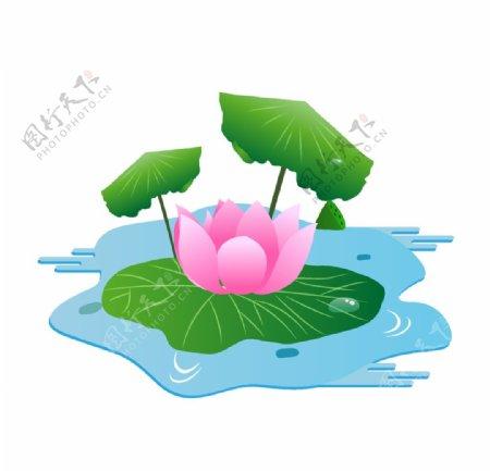 手绘夏季唯美粉色鲜花荷花插画图片
