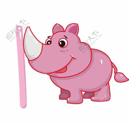 粉色可爱的犀牛插画图片