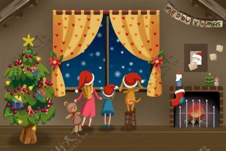 圣诞节一家人卡通绘画图片