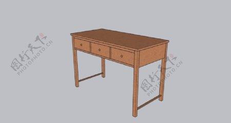 简单卯榫结构的三斗桌图片
