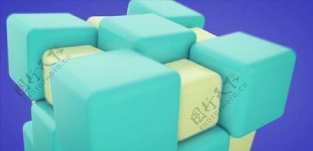 C4D模型动画生长的方块魔方图片