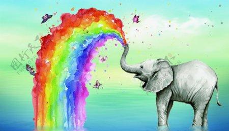 大象水中喷绘彩虹蝴蝶装饰背景图图片