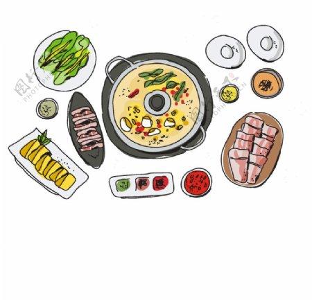 冬天食物火锅矢量图片