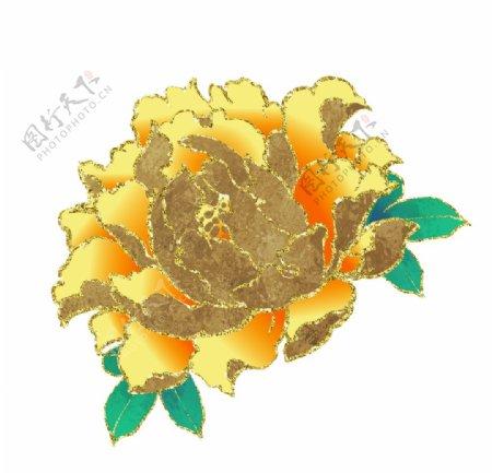 黄色牡丹插画图片