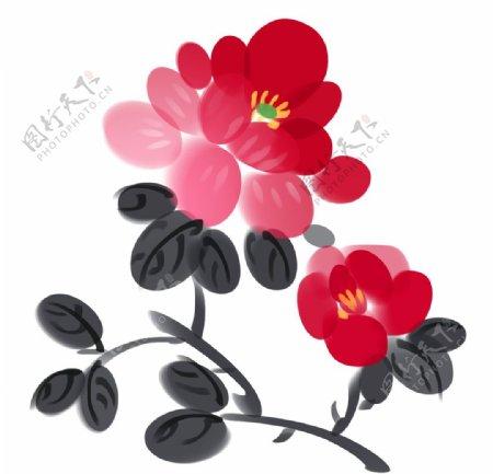 水墨牡丹花图片