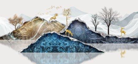中式山水麋鹿装饰画图片