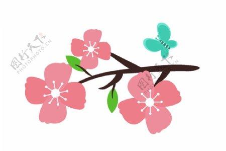 樱花桃花插画图片
