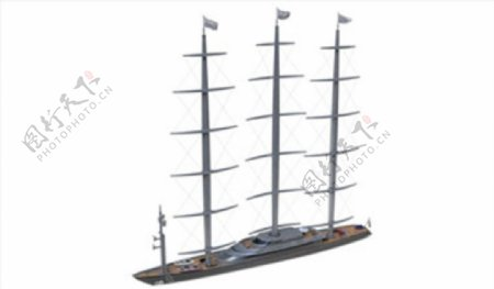 C4D模型轮船帆船捕鱼船图片