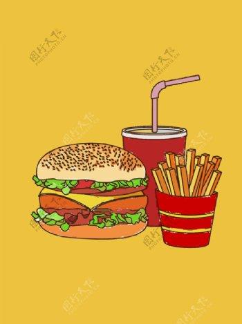 金拱门套餐插画图片