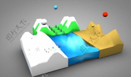 C4D模型山脉水图片