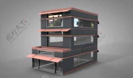 C4D模型像素店铺房子三层图片