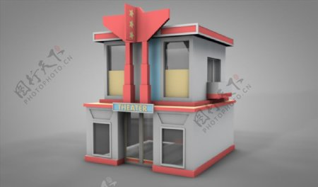 C4D模型房子卡通图片