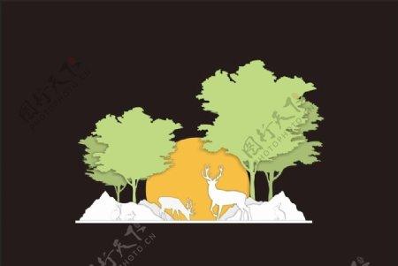 多层美陈展示森林动物图片