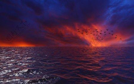 夕阳大海图片
