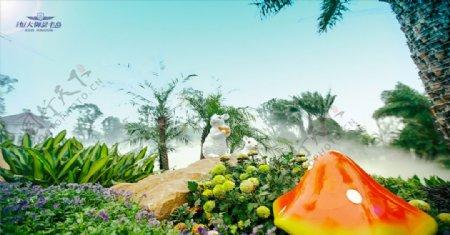 房地产园景兔子图片
