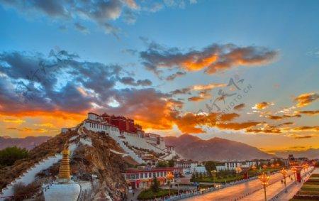 布达拉宫西藏风景写真照图片