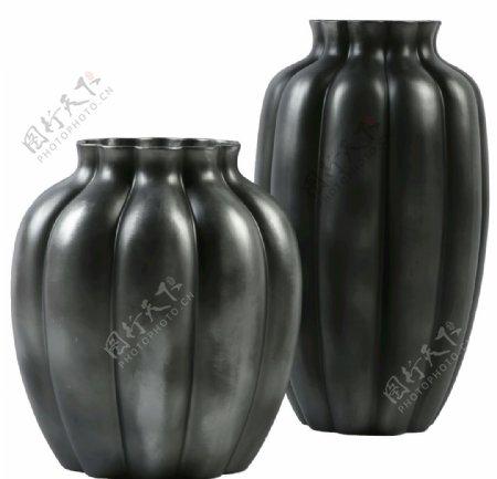 南瓜条纹陶罐花瓶图片