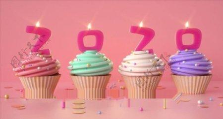 C4D模型杯子蛋糕生日蛋糕图片