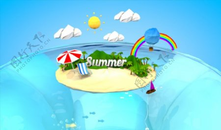 C4D模型游泳池游乐园图片