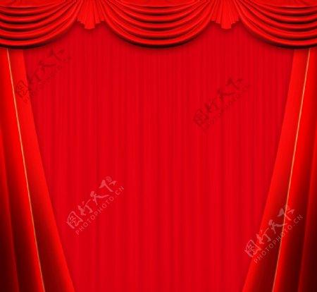 地产红色背景帷幕图片