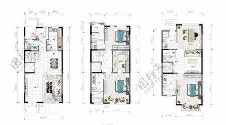 别墅户型三层图片