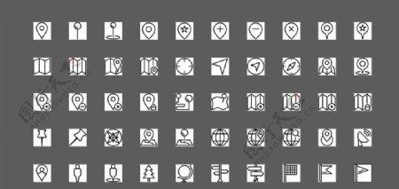 50个黑白位置UI图标图片