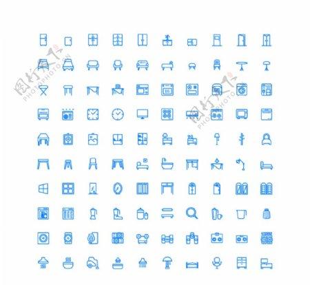 100个家庭UI图标图片