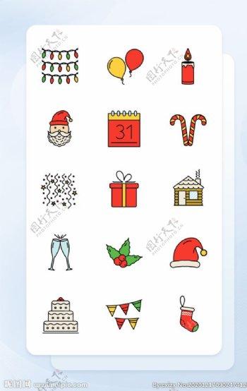 多色线性圣诞节常用手机主题矢量图片