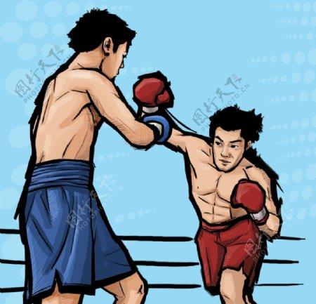拳击比赛运动员图片