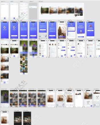 xd社交蓝紫色UI设计登录页注图片