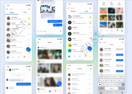 xd社交蓝色UI设计好友列表页图片